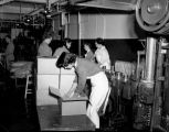 Women employees packing boxes of canned goods inside a fish cannery, ca. 1952