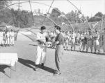 Member of the Western Giants baseball team receiving a trophy during an awards ceremony at a local...