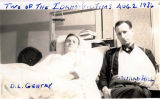 Clearwater Lumber Strike riot victims D. L. Gentry and Conrad Hill in hospital, Clearwater, Idaho,...