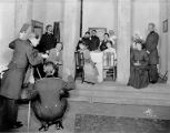 Ensemble cast in a scene, with Beatrice Terry at right from the play The Three Sisters at the...
