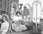 Bon Odori Festival float featuring Queens Nadine Iwata and Linda Andrews, Seattle, July 29, 1967