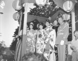 Bon Odori Grand Parade including three unidentified women of the Bon Odori court, Seattle, July...