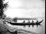 Elbert Blaine, Charles and Andrew Denny with others on a boating excursion, Lake Washington, 1900