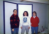 Patra Leaming, Jackie Boschok and Kim Caldwell assembling exhibit in Jackie's basement, Coalition...