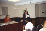 Jackie Boschok speaking at meeting, Coalition of Labor Union Women (CLUW) New Technology...