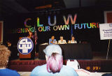 Jackie Boschok speaking on conference stage, Coalition of Labor Union Women (CLUW) New Technology...