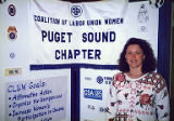 Jackie Boschok with exhibit at the Coalition of Labor Union Women (CLUW) Exhibit at 1st Northwest...