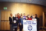 Group photograph of Jackie Boschok with Coalition of Labor Union Women (CLUW) Puget Sound members,...