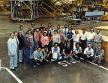 Group photograph of Jackie Boschok and her fellow employees at Boeing, ca. 1980s-1990s