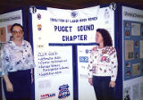Patra Leaming and Jackie Boschok with exhibit at the Coalition of Labor Union Women (CLUW) Exhibit...
