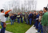 Man instructing large group of clayshoot attendees, 2nd Annual Puget Sound Union Sportsmen...