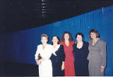 Kathy Short, Jackie Boschok, Susan Palmer, Jan Little and Lois Hanson standing at convention,...