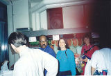 Sam Perry, Jackie Boschok and Lois Hanson buying fruit, International Association of Machinists...
