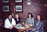 Jan Little, Kathy Short, Susan Palmer and Jackie Boschok seated at restaurant table, International...