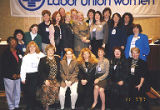 Group photograph of Jackie Boschok and other convention attendees, 9th Biennial Coalition of Labor...