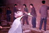 Construction site showing male and female construction workers, Trade Unionists tour of China, 1975