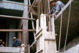 Construction site showing workers, Trade Unionists tour of China, 1975
