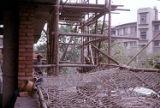 Construction site showing scaffolding, Trade Unionists tour of China, 1975
