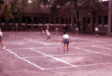 Chinese children playing badminton, Trade Unionists tour of China, 1975