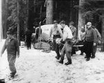 Rescue teams prepare to evacuate the body of mountain climbing accident victim, Arthur Jessett,...