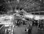 Birds-eye view of the exhibits at the Washington State International Trades Fair, Seattle, May...
