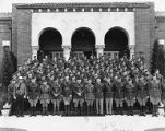 Group portrait U.S. Army chaplains outside the Lewis Main Chapel at Fort Lewis, ca. 1940