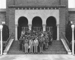 Group portrait of U.S. Army chaplains outside the Lewis Main Chapel at Fort Lewis, ca. 1940