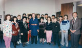 Senator Brock Adams wearing a traditional Russian outfit, with exchange students from Tashkent,...