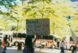 Protestor at an anti-Adams loggers' rally outside the Federal Building, Seattle, June 14, 1990