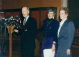 Representatives Pat Schroeder (left) and Marilyn Lloyd with Senator Brock Adams at the Women's...