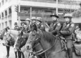 Police officers on horses at a Gulf War protest in Seattle, Washington, January 15, 1991