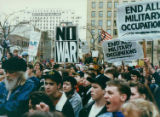 Gulf War protestors clapping and yelling in Seattle, Washington, January 17, 1991