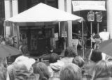 People listening to a speaker at the Ancient Forest Rally in Seattle, Washington, December 1990