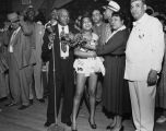African American beauty queen being awarded the title of Miss Bronze by the Veterans of Foreign...