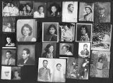Collage with 24 photos of men and women of different races,  ca. 1920s-1940s
