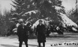 """Steg & Philips"" in the snow on the University of Washington campus, January 4, 1916"