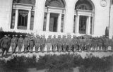 31st Squadron of the United States School of Military Aeronautics in front of the Hearst Mining...