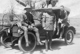 Cadets Hoyt, Howard and Marsh Corbitt on an auto trip to Viejas Mountain in California, April 28,...