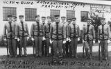 Men in uniform outside of the Mines Rescue Station, 1915