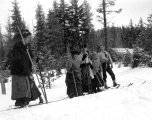 Skiers at Longmire's, Mount Rainier National Park, February 22, 1909