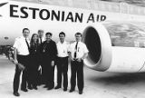 Malle Hannibal with Estonian Air pilots in Seattle, Estonians, 1994