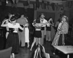 Couples slow dancing, Seafair Costume Dance, Seattle, August 2, 1952