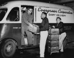 Evergreen Cooperative Dairy Delivery truck and workers, probably Seattle, October 31, 1953