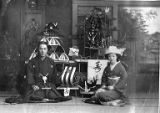 Japanese man and woman in Japanese wedding dress, location unknown, n.d.
