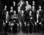 Tatsuya Arai and fourteen other Japanese men in a group photograph, ca. 1894 to 1922