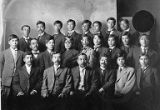 Tatsuya Arai and group of young Japanese men in a group portrait, ca. 1894 to 1922
