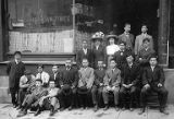 Tatsuya Arai and a group of Japanese men in front of the North American Times building, 1913