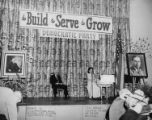 Elwell L. Park and singer Miss Bohan on stage at the Truman-Jackson luncheon, Seattle, Washington,...