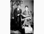 Studio portrait of two men in bowler hats, n.d.