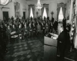 President Lyndon B. Johnson presenting Vietnam speech at White House, Washington D.C., May 2, 1965